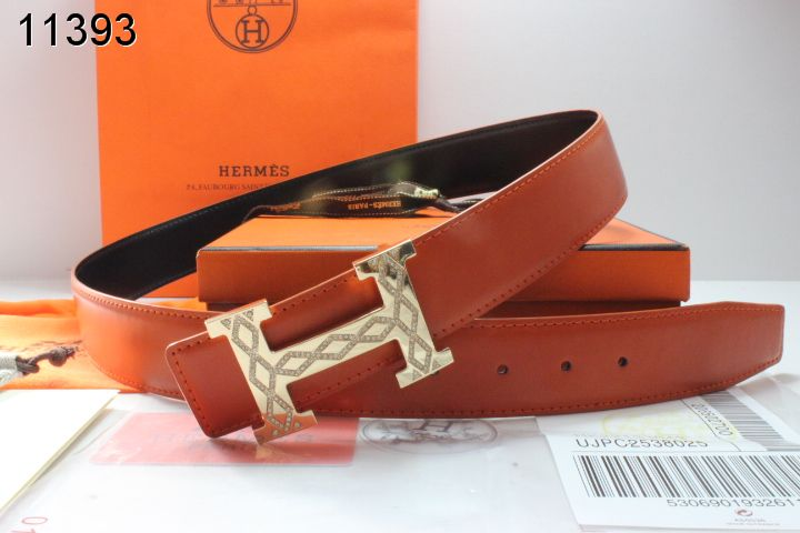 Luxury Belt Orange Hermes Mens with Golden H Buckle Clearance Sa
